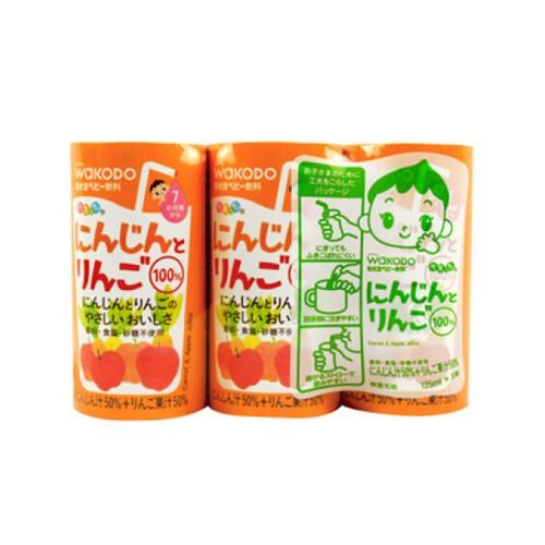 和光堂 7個月起嬰兒果汁(蘋果+胡蘿蔔)125mlx3支