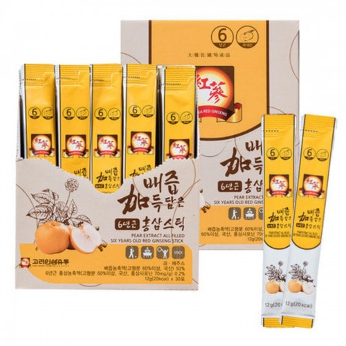 韓國製雪梨6年紅參根濃縮飲液 12g x30條