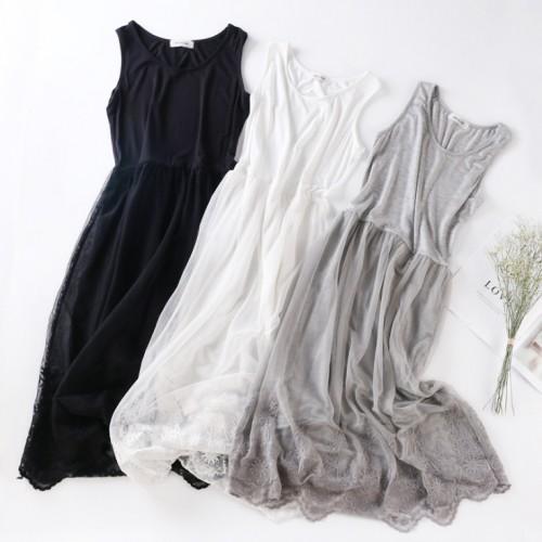 韓版輕紗刺繡裙邊連身裙