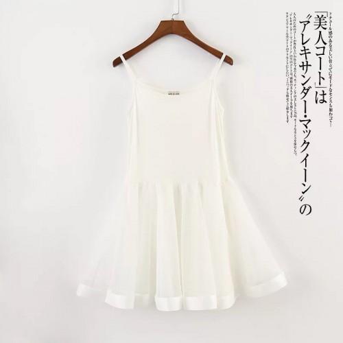韓版輕紗寬邊連身裙