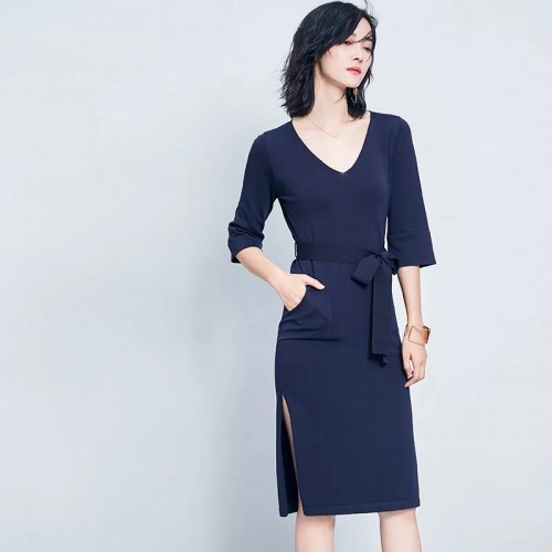 V領綁帶連身裙