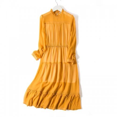 立領真絲連身裙
