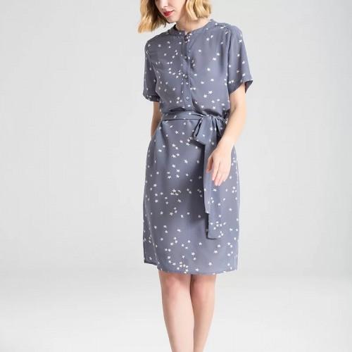 圖案短袖真絲連身裙
