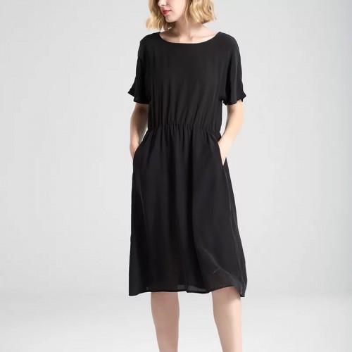 簡約短袖真絲連身裙