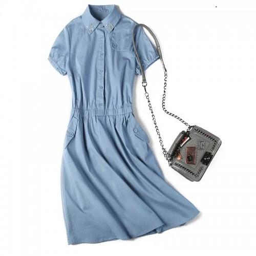 閃石細節束腰連身裙