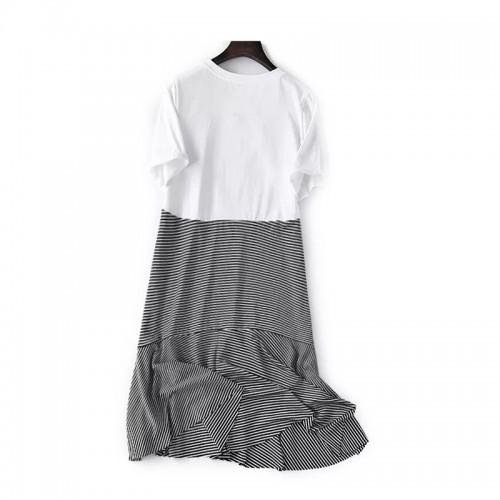 喱士拼接條紋連身裙