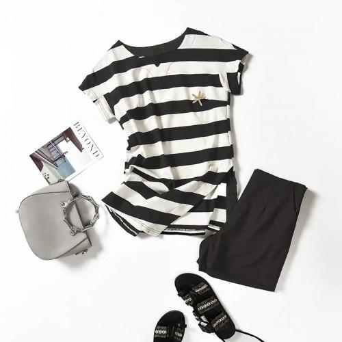 條紋短袖T恤+短褲套裝