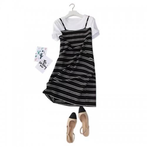 條紋拼接短袖連身裙