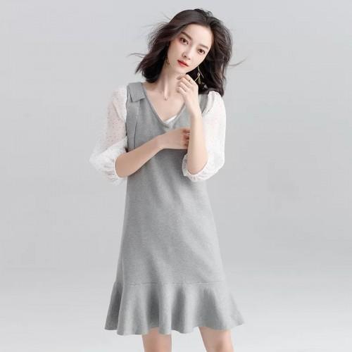 V領無袖針織連身裙(不包括恤衫)