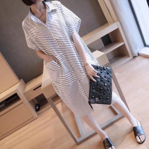 不規則條紋短袖連身裙