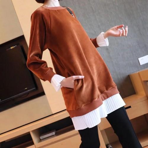 壓褶邊長袖連身裙